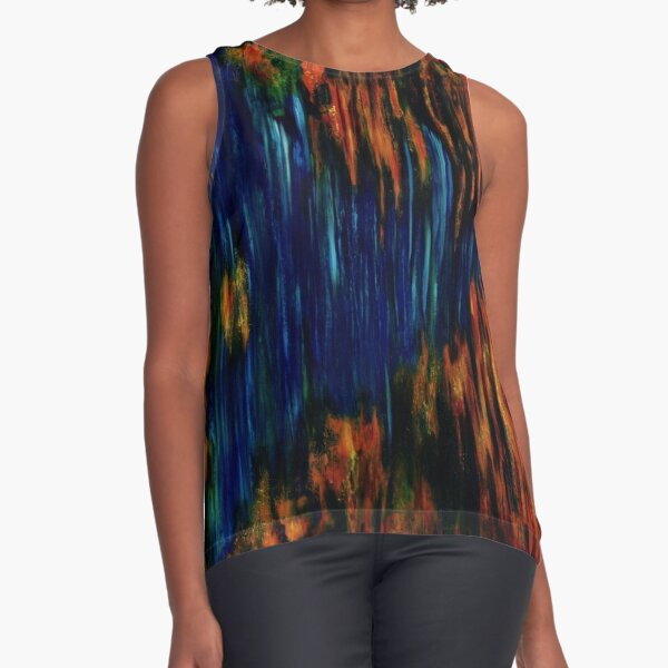 Untitled Blue & Orange (AKA Vichter 2) (Oils - 91 x 91cm) Sleeveless Top