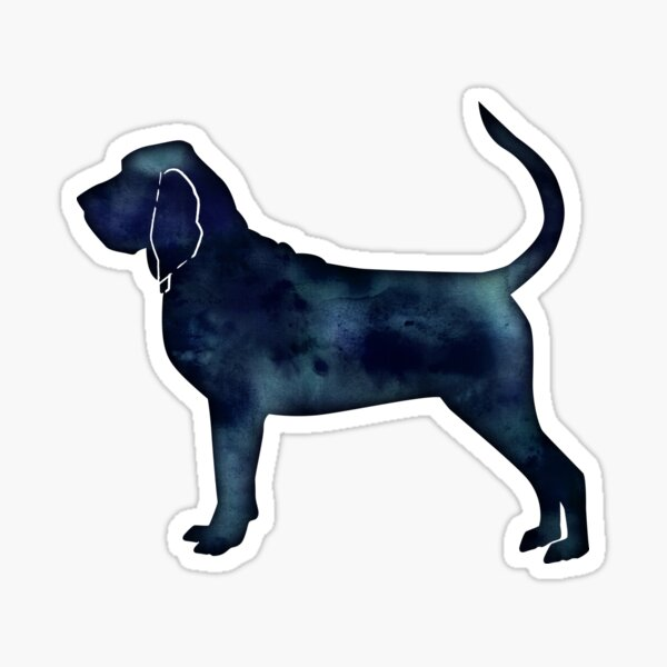 Bloodhound Dog Breed Black Watercolor Silhouette Sticker