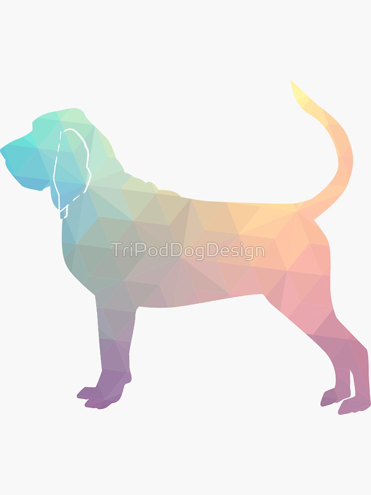 Bloodhound Dog Breed Geometric Silhouette Pastel by TriPodDogDesign