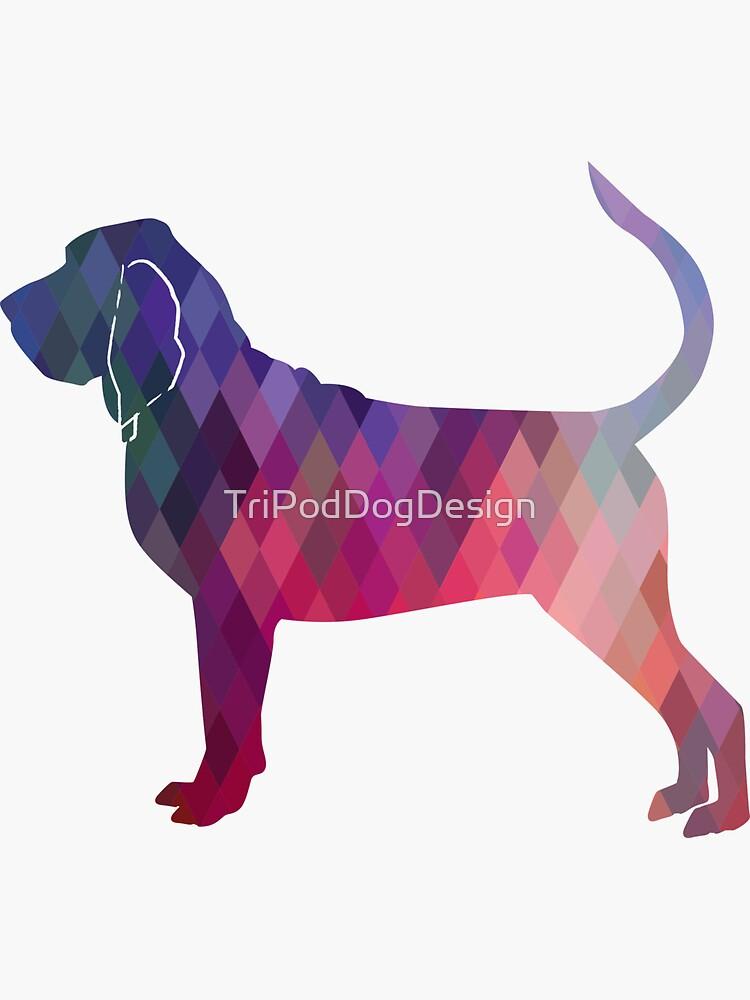 Bloodhound Dog Breed Geometric Silhouette Pink by TriPodDogDesign