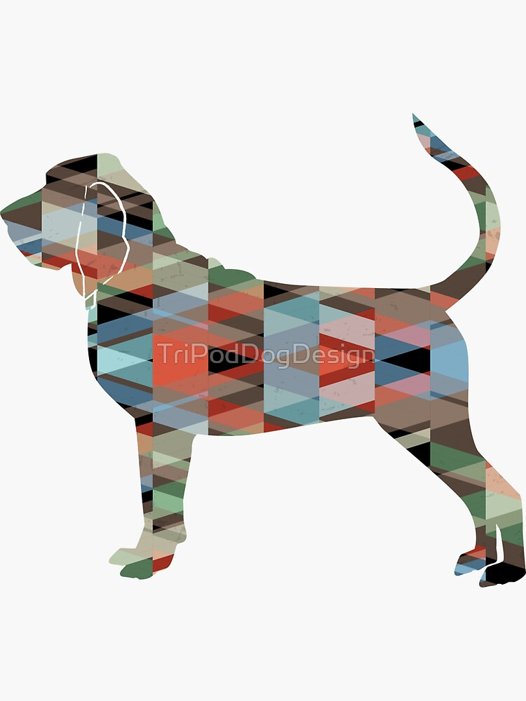 Bloodhound Dog Breed Geometric Silhouette Plaid by TriPodDogDesign