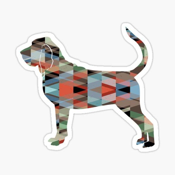 Bloodhound Dog Breed Geometric Silhouette Plaid Sticker