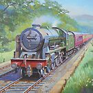 Ex-LMS Royal Scot on a passenger train in the 1950s. by Mike Jeffries