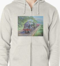 Ex-LMS Royal Scot on a passenger train in the 1950s. Zipped Hoodie
