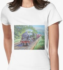 Ex-LMS Royal Scot on a passenger train in the 1950s. Women's Fitted T-Shirt