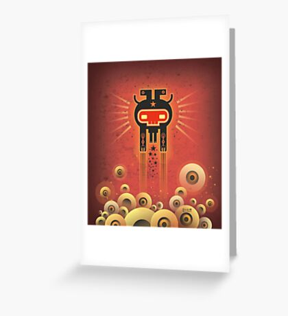 ELECTROCHAMAN Red face Greeting Card