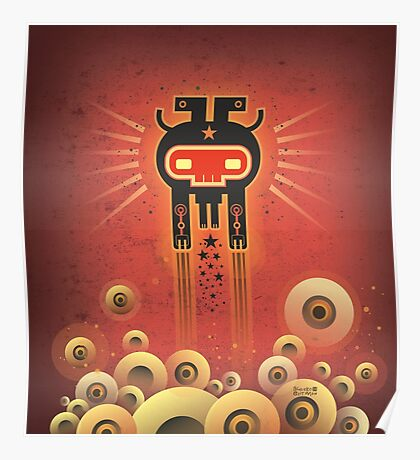 ELECTROCHAMAN Red face Poster