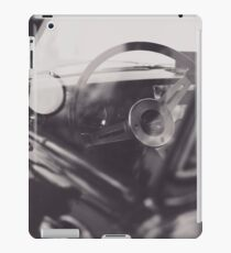 Black & white macro photo of steering wheel from a british car. Classy fine art Triumph Spitfire. Red Supercar iPad Case/Skin