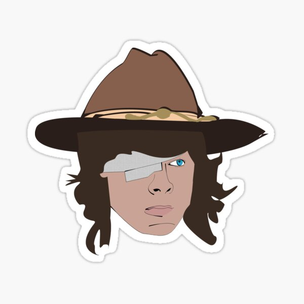 Carl With Face Walking Dead Character Sticker