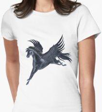 Black Pegasus Flying Women's Fitted T-Shirt