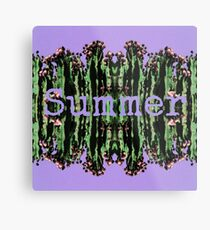 Cacti Summer Reflections Typography  Metal Print