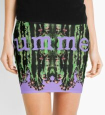Cacti Summer Reflections Typography  Mini Skirt