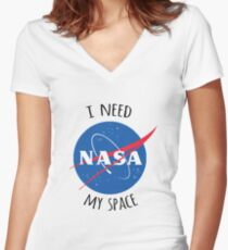 NASA i need my space Women's Fitted V-Neck T-Shirt