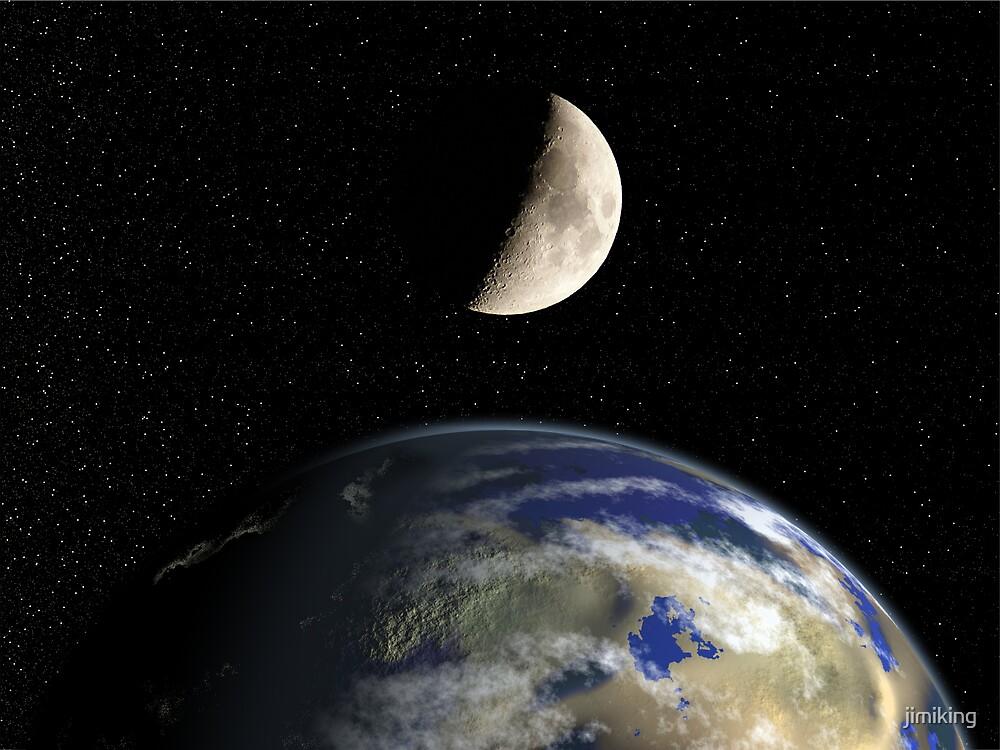 Earth & Moon by jimiking