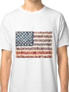 usa flag american flag floral 1 Classic T-Shirt