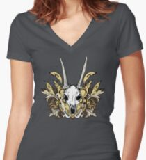Goat Skull and Engraved Floral Detail Women's Fitted V-Neck T-Shirt
