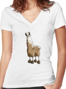 Fluffy Llama Women's Fitted V-Neck T-Shirt