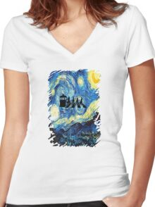 The Doctor Flying With Starry Night Women's Fitted V-Neck T-Shirt