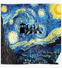 The Doctor Flying With Starry Night Poster