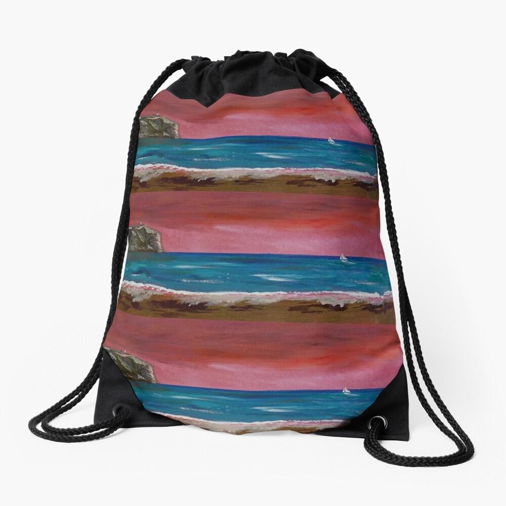 Javea. Spanish sunset Drawstring Bag