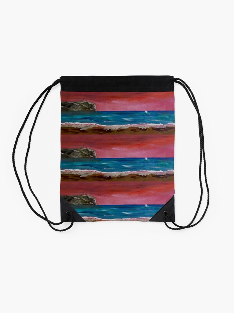 Alternate view of Javea. Spanish sunset Drawstring Bag