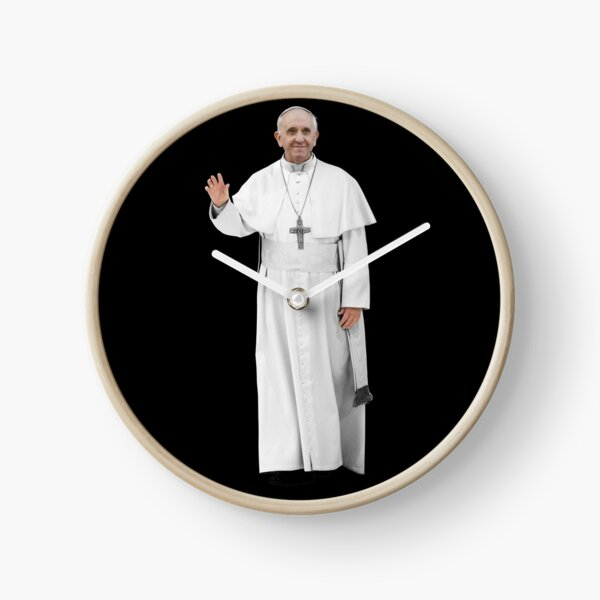 High Resolution Standing Waving Pope Francis Clock