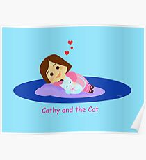 Cathy and the Cat take a Nap Poster