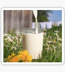 pouring milk into glass Sticker