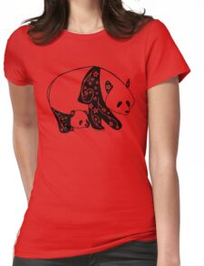 Floral Panda Womens Fitted T-Shirt