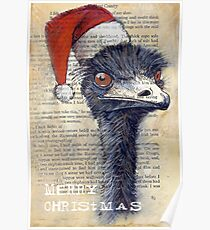 Emu Christmas Card Poster