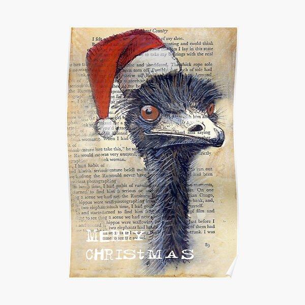 Emu Christmas Card Poster