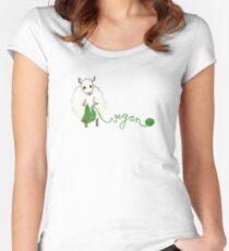 Vegan Crafter ~ Cute Knitting Sheep Women's Fitted Scoop T-Shirt