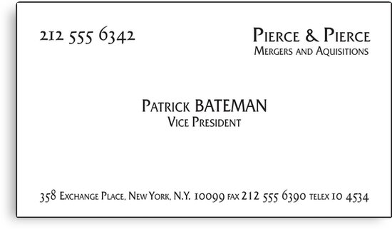 Patrick bateman business card canvas prints by troy v redbubble patrick bateman business card by troy v colourmoves