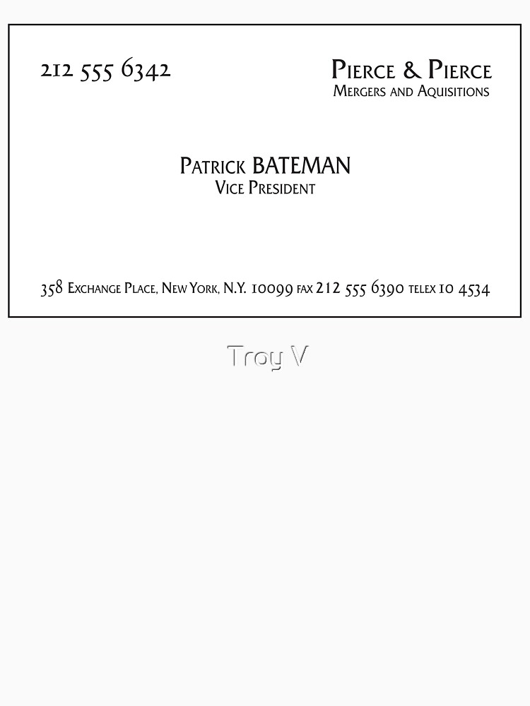 Patrick bateman business card unisex t shirt by troyvart redbubble patrick bateman business card by troyvart colourmoves