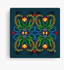 Scandinavian Folk Art ~ Red Tulip in blue Canvas Print