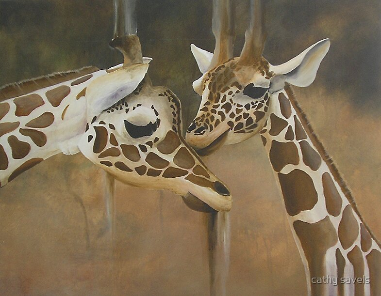Giraffes by cathy savels