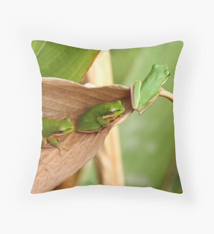 Ready to leap or Green, green, green Throw Pillow