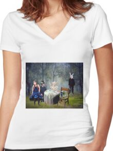 Alice, You're Late Again Women's Fitted V-Neck T-Shirt