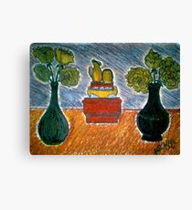 CARNATIONS AND TWO VASES Canvas Print