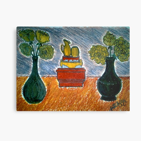 CARNATIONS AND TWO VASES Metal Print