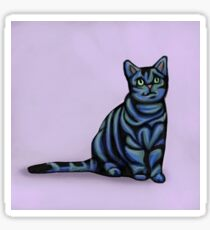 Blue Tabby Cat with Purple Background Sticker