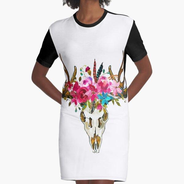 Boho Chic Deer Skull Graphic T-Shirt Dress