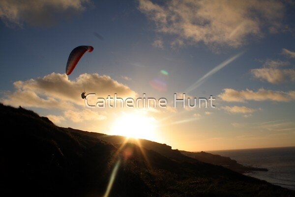 Paraglider at Sunset, Sennen by Catherine Hunt