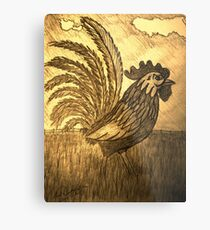 ROOSTER IN THE GRASS Metal Print