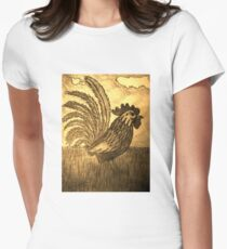 ROOSTER IN THE GRASS Women's Fitted T-Shirt