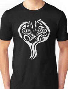 Tribal Wolves Heart - version 2 - white Unisex T-Shirt
