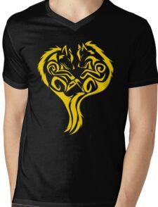 Tribal Wolves Heart - version 3 - gold Mens V-Neck T-Shirt
