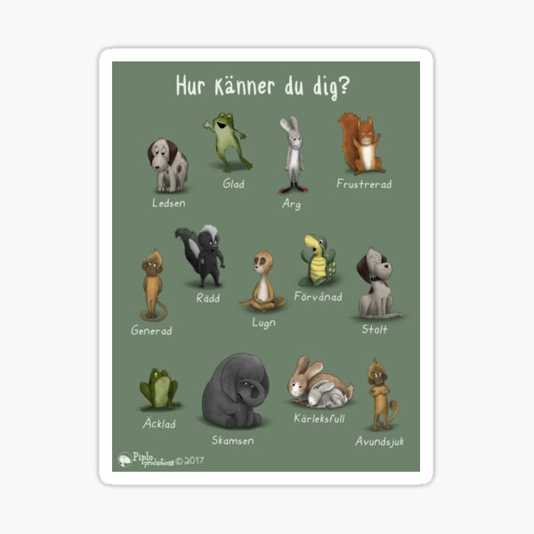 Hur Känner Du Dig: Feeling Sticker of the animals from Once I Was Very Very Scared Sticker