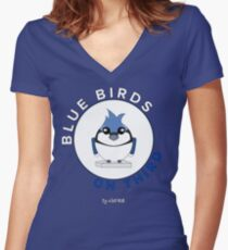 Blue Birds on Third Women's Fitted V-Neck T-Shirt