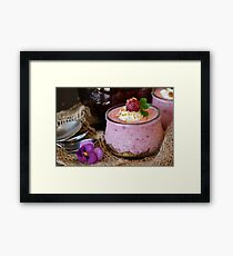 Quark Quark Cream Raspberries Dessert Cream Framed Print